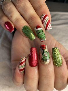 Fancy Nails, Cute Nails, Pretty Nails, Christmas Gel Nails, Holiday Nails, Cute Acrylic Nail Designs, Nail Art Designs, Xmas Nail Designs, Nails Design