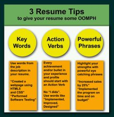 key words action verbs and powerful phrases necessary to give your resume some oomph