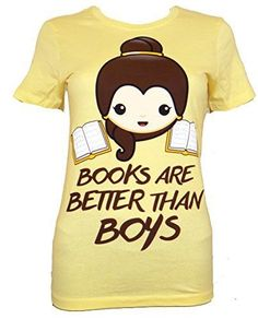 Emoji Belle prefers books to boys on this juniors tee. - Womens Juniors Tee…