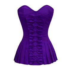 ND-043 Purple Bow Front Corset with Pleated Sides