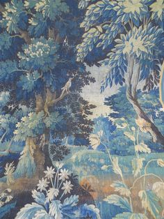 Aubusson verdure tapestry chateau Bordeaux antique French with bird and flowers Tapestry Wallpaper, Tree Tapestry, Textile Patterns, Textiles, Elements Of Design, Woodland Animals, Designer Wallpaper, French Antiques, 18th Century