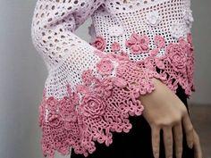 flowers and mesh crochet cardigan sleeves