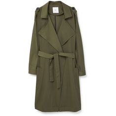 Mango Flowy trench ($130) ❤ liked on Polyvore featuring outerwear, coats, dark green, women, lapel coat, trench coat, dark green trench coat, mango coat and long sleeve coat