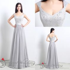 2015 Real Picture In Stock Size US4-US16 Gray Lace Chiffon Long Evening Gown Party Evening Prom Bridesmaid Dress Online with $73.51/Piece on Weddingpalace's Store | DHgate.com