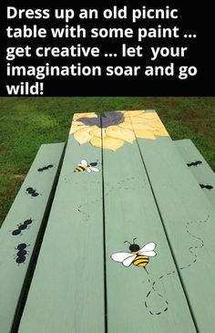 Make use of these cost-free picnic table plans to build a picnic table for your yard, deck, or any other area around your residence where you need sitting. Developing a picnic table is . Read Best Picnic Table Ideas for Family Holiday Diy Picnic Table, Diy Table, Painted Benches, Painted Patio Table, Hand Painted Chairs, Wooden Benches, Kids Picnic, Wooden Pallets, Furniture Makeover