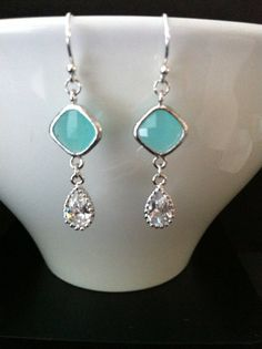 Sales  Faceted Mint and Zirconia Tear Drops Glass by SwamiJewelry, $25.00