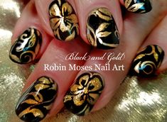 DIY Flower Nail Art | Black and Gold Floral Nails Design Tutorial