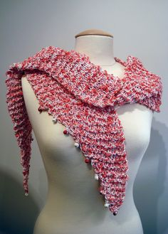 Handmade knitted, cotton red and white scarf with beads