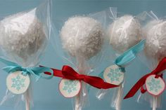 Cake pops are popular DIY favors. Winterize them by using white chocolate and rolling each ball in sugar crystals before the chocolate dries – they'll look like mini snowballs! Get the tutorial here.