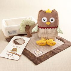 """My Little Night Owl"" Five-Piece Baby Gift Set  Whooooo loves ya, baby? Every new, little night owl will love the cuddly company of two, woodlands-themed plush toys and a lovie blanket, as mom and dad put the door hanger on the nursery doorknob and turn off the light.  Favor Couture Sally Wilson SHops http://www.favorcouture.theaspenshops.com"