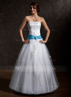 Quinceanera Dresses - $186.99 - Ball-Gown Strapless Floor-Length Satin Tulle Quinceanera Dress With Lace Sash Beading Bow(s) (021002291) http://jjshouse.com/Ball-Gown-Strapless-Floor-Length-Satin-Tulle-Quinceanera-Dress-With-Lace-Sash-Beading-Bow-S-021002291-g2291