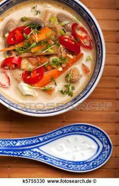 Stock Fotografie - tom kha gai, suppe, mit, huhn, und, chili. Fotosearch - Suche Stockfotografien, Fotos, Wandbilder, Bilder und Foto Clipart