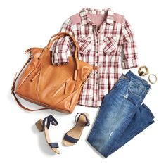Stay comfortable & stylish in the perfect transitional look: A plaid button up, distressed denim & a cognac carryall.