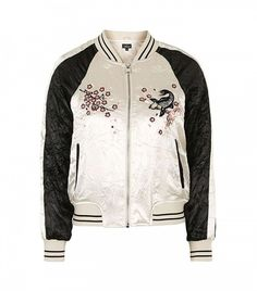 Topshop Contrast Embroidered Bomber Jacket