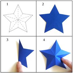 These paper stars are easy to make. Cut, score and fold.
