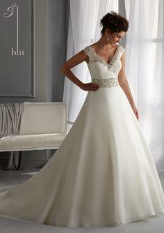 vestido nupcial de Blu por Mori Lee del estilo del vestido 5261 del vestido de boda del Organza de cristal con encaje bordado y rebordear Diamante