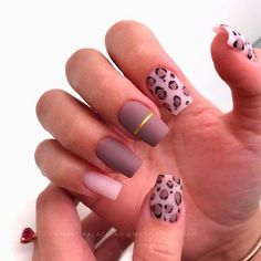 Short Taupe Matte Coffin Nails with Animal Print ❤ 35+ Magnificent Coffin Nails Designs You Must Try ❤ See more ideas on our blog!! #naildesignsjournal #nails #nailart #naildesigns #nailshapes #coffins #coffinnails #coffinnailshapes