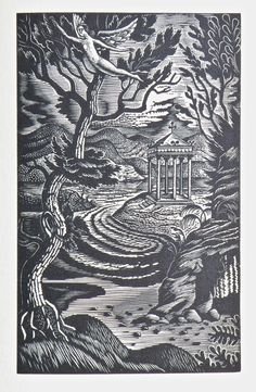 "Wood engraving by Eric Ravilious for ""Elm Angel"" by Harold Monro, 1938"