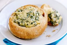 Spinach dip in mini cob Spinach Dip  Sour cream 500g Frozen spinach 1/2pack 1/2jar whole egg mayo Spring veggie soup Bread