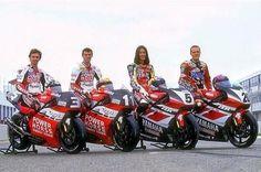 90's Team Yamaha Racing #factoryyamaharacing #lucacadalora #troycorser #norickabe #setegibernau #500cc #motogp