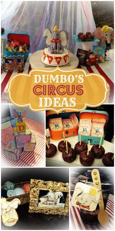 A Dumbo's circus birthday party with vintage toys and candy apples! See more party ideas at CatchMyParty.com!