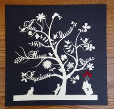 Paper cut family tree, 'Birds & Flowers Design' with little house and hearts by DinkyThings on Etsy