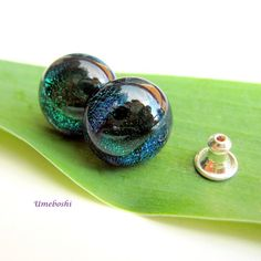 Eyes of the Forest Handmade Fused Dichroic Glass Post Earrings | Umeboshi - Jewelry on ArtFire