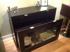 Custom console table with a built in rabbit cage.