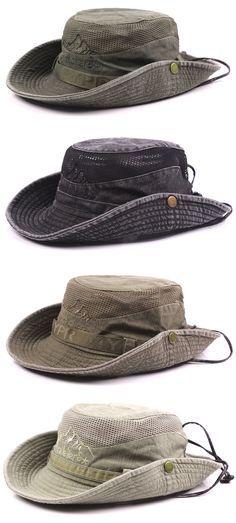 12557cbd3d2d2 Mens Summer Cotton Embroidery Visor Bucket Hats Fisherman Hat Outdoor  Climbing Mesh Sunshade Cap is hot sale on Newchic.