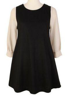 Black Round Neck Three Quarter Length Sleeve Cotton Dress US$31.84