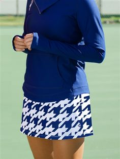 Blue Houndstooth skort for golf or tennis at #golf4her.com