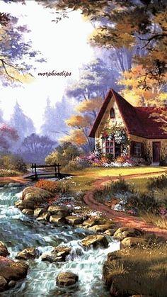 Gif Animé Plaisir Passion - My site Watercolor Landscape, Landscape Art, Landscape Paintings, Watercolor Art, Nature Pictures, Art Pictures, Beautiful Pictures, Beautiful Paintings, Beautiful Landscapes