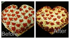 Heart Shape Home-ade Pizza. For Valentines or Anniversary Dinner For Him. -Pizza Dough(form or cut into heart) -Pizza Sauce -Cheese -Pepperonis(Used Kitchen Scissors To Cut Into Hearts)  Pepperonis may be slippery.