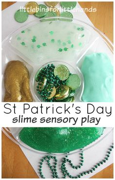 St Patricks Slime Sensory Play Leprechaun Actvitity