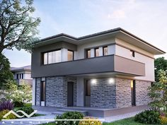 Imperia is a beautiful traditional two-story home model. On the upper floor, you will find three ample bedrooms, two of them with ample windows and the main one with a Modular Home Manufacturers, Kerala Houses, Two Story Homes, Modular Homes, Design Case, Home Fashion, Ground Floor, My House, House Plans