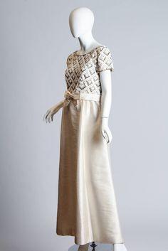 Cream 1960s Beaded Gown 2