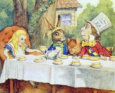 The Mad Hatter's Tea Party, illustration from 'Alice in Wonderland' by Lewis Carroll (1832-9) (colour litho)