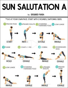 Learn how to do the 12 poses of Sun Salutations- beginner friendly! This is a wonderful flowing sequence to get your yoga practice started. Yoga for Weight Loss? 10 Yoga Postures for Weight Loss! Check It Now! Diy Yoga, Yoga Bewegungen, Pilates Yoga, Pilates Reformer, Vinyasa Yoga Poses, Yoga Meditation, Yoga Fitness, Fitness Wear, Fitness Nutrition