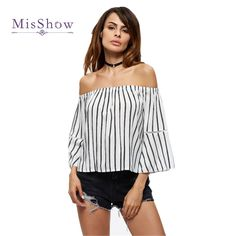 e99eaae518f9b2 Women Blouses Off The Shoulder Flare Sleeve Black Striped PTC 224   Price    21.80
