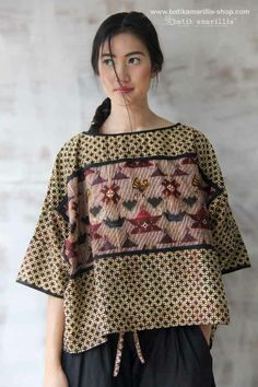 Batik Amarillis made in Indonesia Blouse Batik, Batik Dress, Patchwork Dress, Blouse Dress, Modest Fashion, Love Fashion, Womens Fashion, Fashion Dresses, Mode Batik