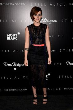 Well, it seems actress Kristen Stewart was on hand for the New York screening of her film Still Alice. The style maven rocked a sheer, navy blue Roksanda c