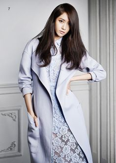 Yoona (SNSD Girls' Generation) wears a beautiful light lavender colored coat for J Look Magazine March Issue 2014.  -Lily  #asian fashion