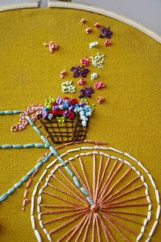 Tandem Bike- hand embroidered hoop art. #basket #bikebasket #flowers #butterflies #handmade #stitched #embroidery