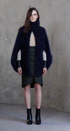Scanlan Theodore Babywool Leather Trim Turtle, Camouflage Pencil Skirt and Super Angora Cape