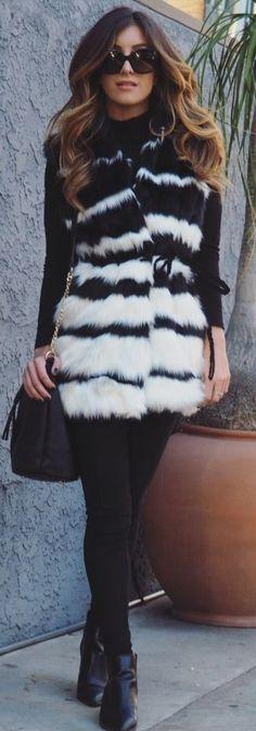 Le Fashion Monster   striped faux fur vest #le