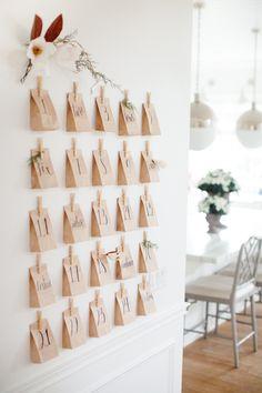 #Adventskalender #Brottüten selber machen an der Küchenwand mit #Wäscheklammern befestigen