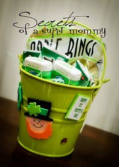 Take the neighbors a bag of Green treats and wish them a Happy St Patricks Day! We took our neighbors little bags of Green apples, Green glow sticks, and Green gum last year. My kids love being little Leprechauns! This is a photo of a St Patty's bucket that my sister in law, Jen, made for us.