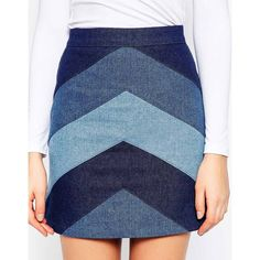 ASOS TALL Denim A-Line Mini Skirt With Chevron Patchwork ($44) ❤ liked on Polyvore featuring skirts, mini skirts, blue mini skirt, short skirts, blue skirt, blue a line skirt and denim skirt