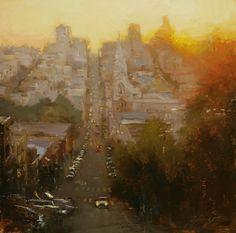 "HSIN-YAO TSENG Fine Art - Cityscapes ""Last bit of Light"" Oil on panel 12""x12"""