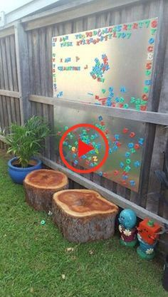 Simply screw sheets of steel to your wooden fence, add … Outdoor Magnetic Board. Simply screw sheets of steel to your wooden fence, add a few decos and a tonne of Alphabet Magnets and voila! Outdoor Learning Spaces, Kids Outdoor Play, Outdoor Play Areas, Kids Play Area, Eyfs Outdoor Area Ideas, Outdoor Games, Outdoor Seating, Outdoor Fun, Natural Playground